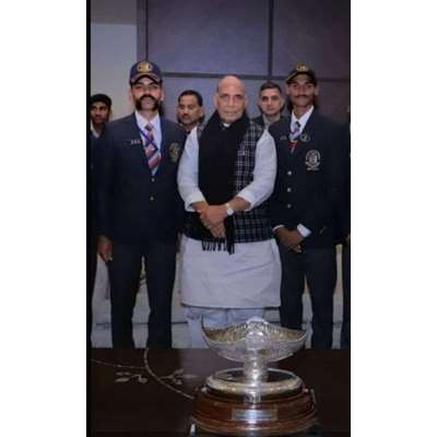 Akshay Singh  Bhati with Hon'ble Defense Minister Shri Rajnath Singh (Govt. Of India)